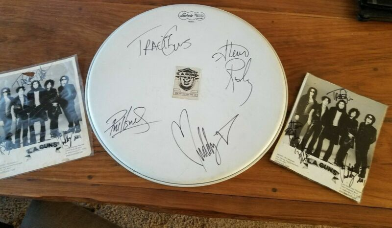 """L.A. Guns Autographed Signed 18"""" Drumhead and photos"""