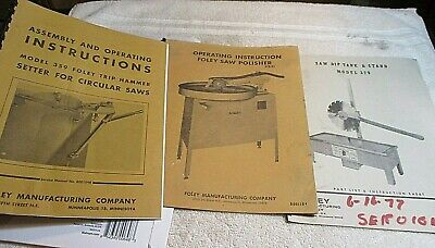Foley Saw Equipment Model 379 359 378-01 Manual Instructions Parts Lot