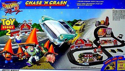 Toy Story 2 Chase N Crash Disney PIXAR Mattel Hot Wheels TYCO Slot Car Race Set