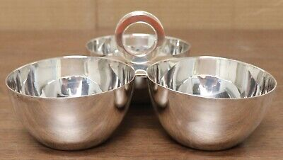 """07/20. Vintage Ralph Lauren """"Montgomery"""" Silver-Plated 3 Section Condiment Bowl"""