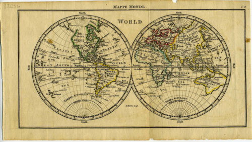 1761 Genuine Antique miniature map World in Hemispheres. Hand Color. by A. Dury