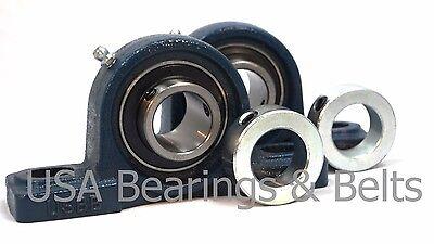 2 Pcs 58 Premium Pillow Block Bearings Ucp202-10 Plus 2 Solid Shaft Collars