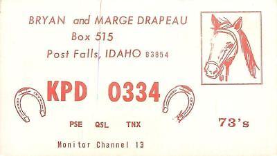 Post Falls Idaho~QSL Horseshoes~Horse & Bridle~Bryan & Marge Drapeau c1960