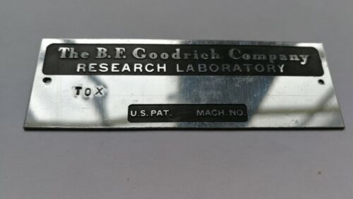 Rare Unused BF Goodrich Company Research Company Brass Nameplate Vintage