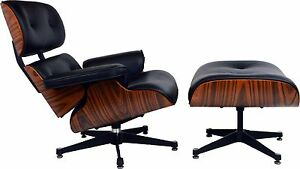 Lounge Chair and Ottoman Light Rosewood Black Leather Inspired by Charles Eames