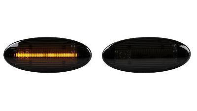 Schwarz Leder Cube (LED Seitenblinker Blinker Smoke Schwarz Nissan Qashqai J10 JJ10 SB1)