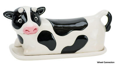 Cow lidded butter dish Novelty Ceramic holder by Boston Warehouse Great Gift