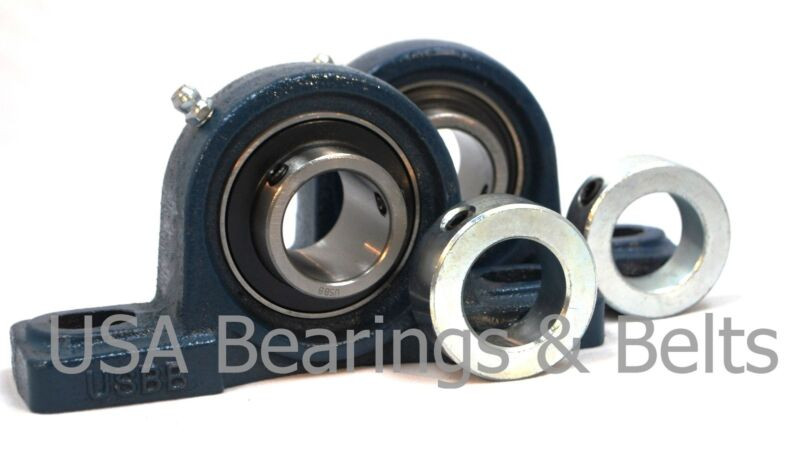 "(2) 1/2"" Premium Pillow Block Bearing,UCP201-8+(2) Zink Plated Shaft Collar"