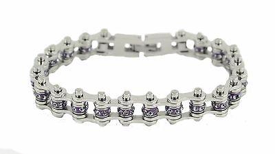 Women's Stainless Steel Silver Alexandrite June Birth Stone Bike Chain Bracelet Alexandrite Crystal Bracelet