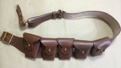 RIGHT SHOULDER UK 1903 Pattern Leather Cavalry Bandolier - 5 Pocket JAWA Gift