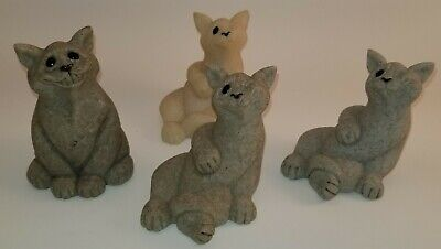 Set of 4 Second Nature QUARRY CRITTERS Cat Figurines Carla and Chico