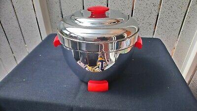 VINTAGE ART DECO THERMOS RED & CHROME ICE BUCKET NO 925 BAKELITE HANDLES