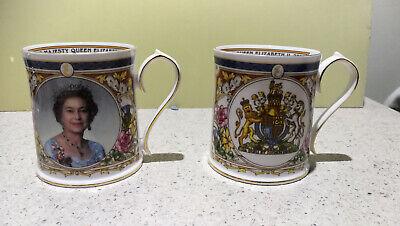 Aynsley Golden Jubilee 2002 - 2 Commemorative Mugs - Queen Elizabeth II