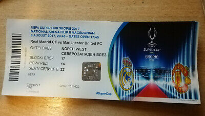 Ticket footbal Réal Madrid CF - Manchester United FC 08/08/2017 UEFA SUPER CUP