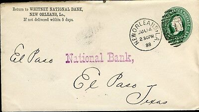 US WHITNEY NATIONAL BANK NEW ORLEANS 7/14/88 PS COVER TO EL PASO, TX 7/17 SHOWN (Whitney Bank)