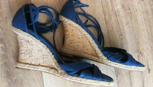Blue canvas retro cork wedge heels with angle ties size 8