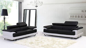 Cosmo Black And White Leather 3 + 2 Seater Leather Sofa's