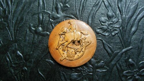"""Vintage Hand Carved Wood Button - Jockey on Horse/Good Luck Horseshoe 1-5/8"""""""