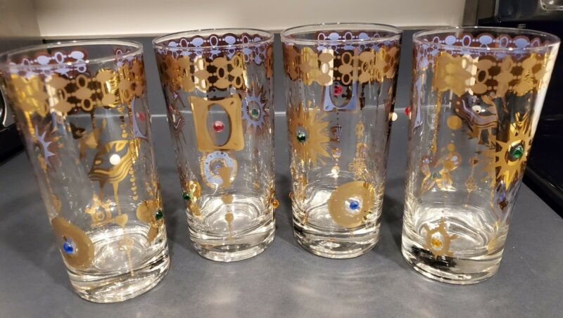 4 Culver CHARM BRACELET hiball glasses JEWELS GOLD Blue MCM