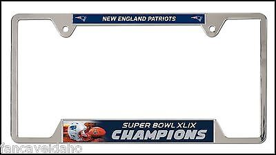 New England Patriots Super Bowl XLIX Champions EZ View Metal License Plate Frame
