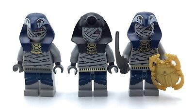 LEGO LOT OF 3 MUMMY MINIFIGS TOMB PHARAOH QUEST FIGS WITH ACCESSORIES HALLOWEEN - Mummy Accessories