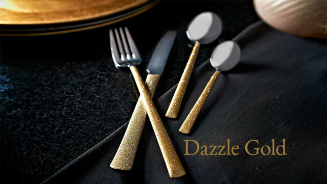 Cutlery Set Dazzle Gold 16 Pc Stainless Steel 18/10 Glitter Handles Fork Spoons