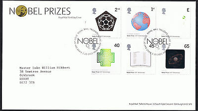 Nobel Prizes 2001 First Day Cover - SG2232 to SG2237 Tallents House Cancel