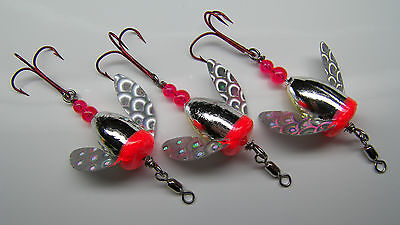 Spin N Glo Lot 3 Spinner Lure Trout Salmon Steelhead Alaska Australia Worden's