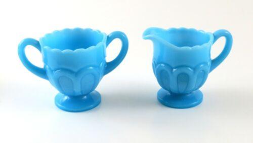 Vintage Pretty Blue Milk Glass Early American Creamer and Sugar Bowl Set