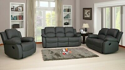 RECLINER SOFA SET LEATHER AIRE GREY 3 PIECE SUITE SOFAS COUCH SALE 3+2+1 NEW