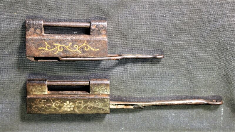 2 Qing Dynasty Inlaid Chinese Padlocks (1 Inlaid with Gold 1 Inlaid with Silver)