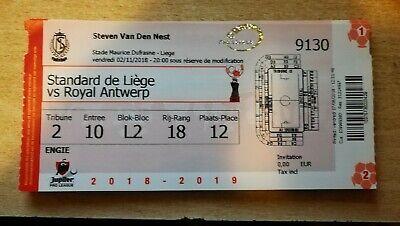 Non plié! Ticket footbal Standard de Liège - R Antwerp FC 02/11/2018  2018-2019