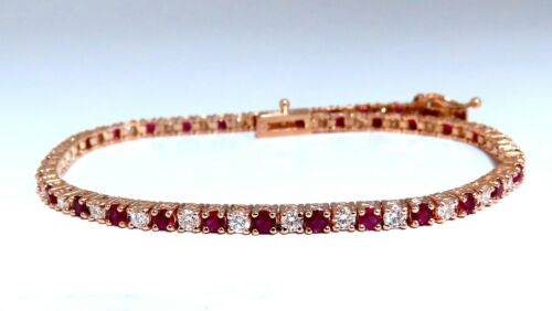 3ct Vivid Red Natural Ruby Diamonds Alternating Tennis Bracelet 14kt