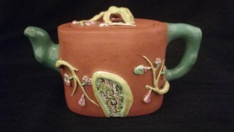 ChineseQing Dynasty Enameled Yixing Zisha Pottery Teapot Signed & Marked