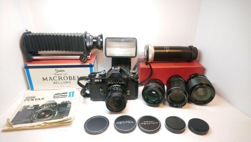 Asahi Pentax ES II SLR Camera w/ 5 Lenses, Accessories, Slide Copier, Flash
