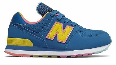 New Balance Kid's 574 Little Kids Female Shoes Blue with Yellow