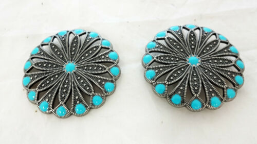 Conchos Pair Royal Round Antiqued Nickel Silver Turquoise Screw Back Horse Tack