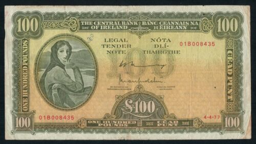 Old Irish £ 100 Pounds Lady Lavery Banknote 4.4.77 Original