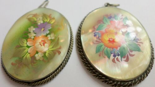 2 Vintage Russian Hand Painted Mother Of Pearl Floral Pendants 45x36mm Signed 3