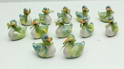 New Wholesale Job Lot 12 x Porcelain / China Duck Ornaments Pretty Green Colours
