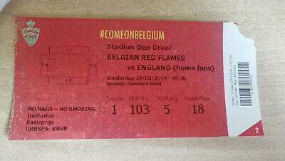 Ticket footbal Belgique Belgium Red Flames - England Angleterre 29/08/2019