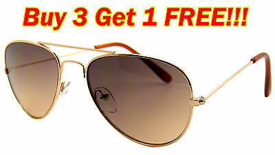 KIDS TODDLER BOYS GIRLS GOLD AVIATOR PILOT CLASSIC STYLE METAL SUNGLASSES SHADE