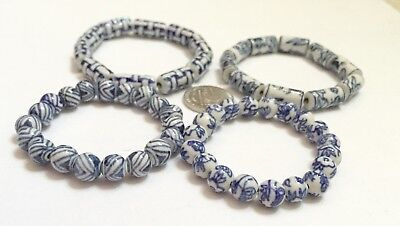 Blue White Vintage Look Floral Ceramic Bead Round 8mm DIY Jewelry Making 55 pcs
