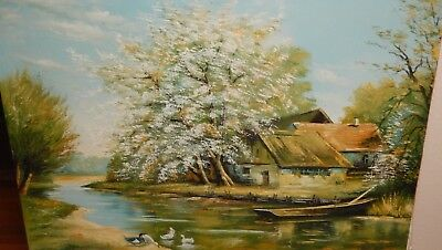 HUGE ORIGINAL OIL ON CANVAS RIVER BOAT CABIN LANDSCAPE PAINTING UNSIGNED