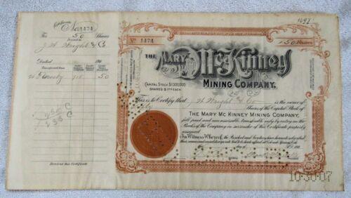 Rare Mary McKinney Mining Co Cripple Creek Colorado Gold Mine Stock Certificate