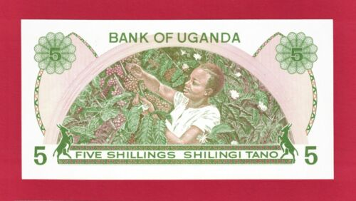 UGANDA UNC FIVE 5 Shillings 1982 SHILINGI TANO BANKNOTE (Pick-15) PRINTER: TDLR