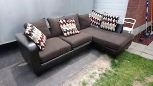 2 Piece Sectional Leather trim & dark cloth with*FREE Delivery*