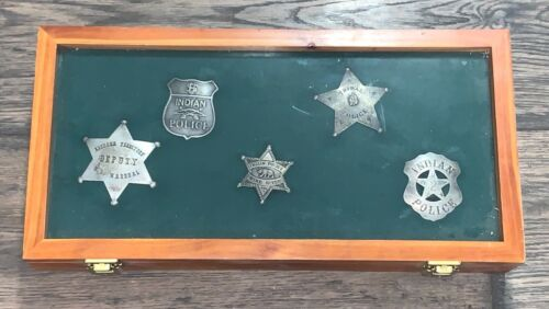 LOT OF 5 Tribal Police EARLY Badges in Case