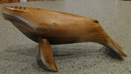 Vintage Carved Solid Wood Whale Made in Philippines
