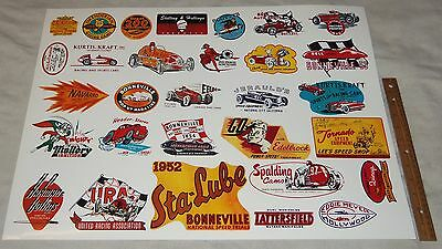 "Old School Car Sticker Poster 19""x25"" Bonneville Edelbrock URA Mallory"